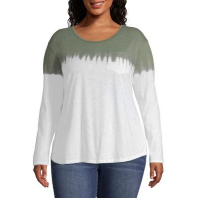 a.n.a Long Sleeve Tie-Dye Pocket T-Shirt - Plus