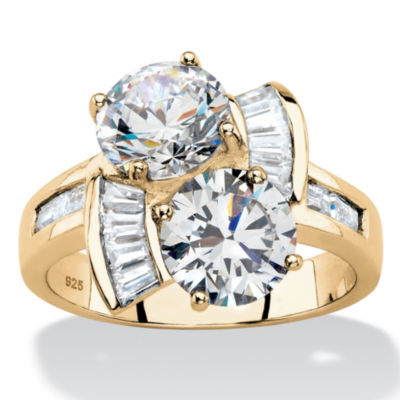 Diamonart Womens 3 CT. T.W. White Cubic Zirconia 14K Gold Over Silver Round Cocktail Ring