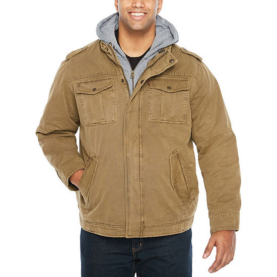 Levi's Big & Tall Washed Cotton Sherpa Lined Hooded Military Jacket