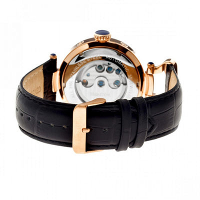 Heritor Automatic Ganzi Mens Leather Day&Date-Rose Gold/Black Watches