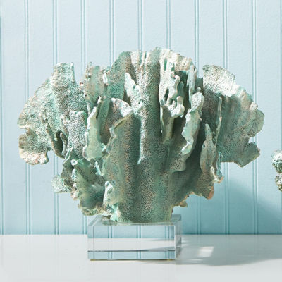 Two's Company Seafoam Green Coral Sculptures WithRemovable Glass Base