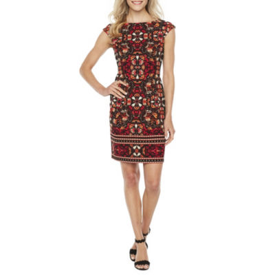 London Times Cap Sleeve Leaf Print Sheath Dress