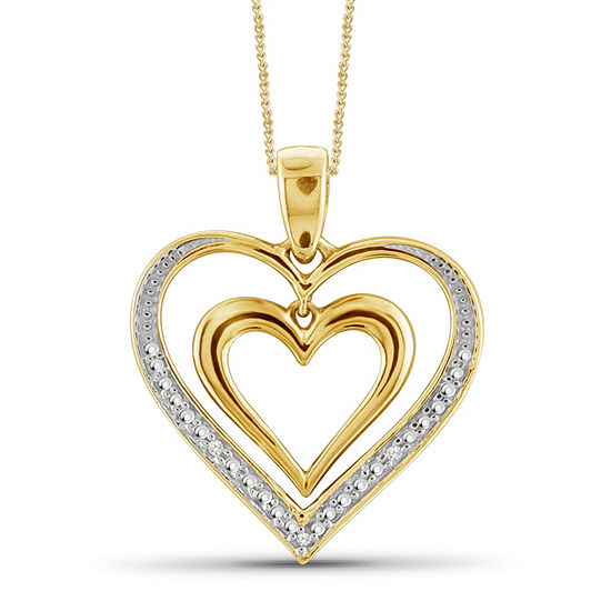 Womens Diamond Accent White Diamond 14K Gold Over Brass Heart Pendant Necklace
