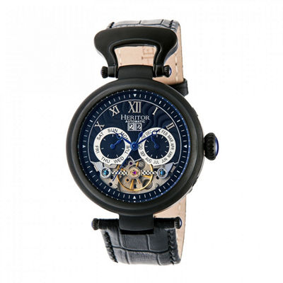 Heritor Automatic Ganzi Mens Leather Day&Date-Black/Navy Watches