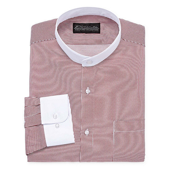 Damante Modern Mens Banded Collar Long Sleeve Dress Shirt