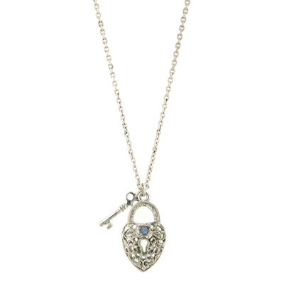 1928 Vintage Inspirations Womens Brass Heart Pendant Necklace