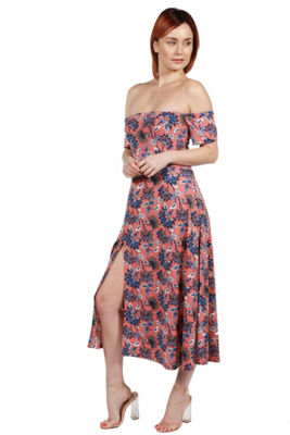 24Seven Comfort Apparel Eleanor Black Floral SideSlit Dress - Plus
