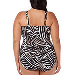 Trimshaper Control Zebra One Piece Swimsuit Plus