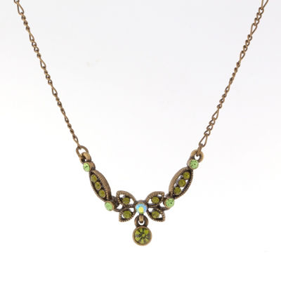 1928 Vintage Inspirations Womens Green Brass Butterfly Collar Necklace