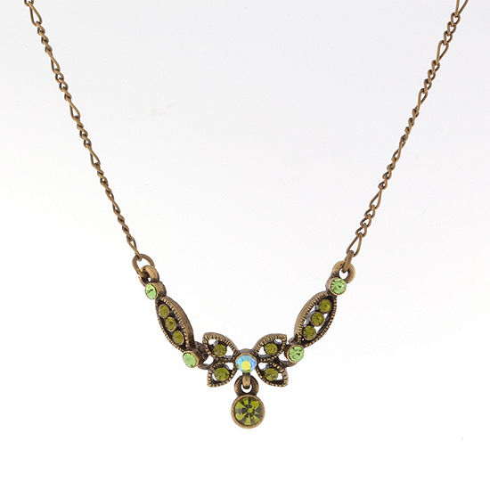 1928 Vintage Inspirations Green 16 Inch Figaro Butterfly Collar Necklace