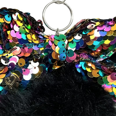JoJo Siwa Signature Black Pom With Rainbow Sequin Bow.