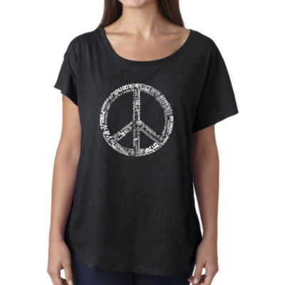 Los Angeles Pop Art Women's Loose Fit Dolman Cut Word Art Shirt - THE WORD PEACE IN 77 LANGUAGES