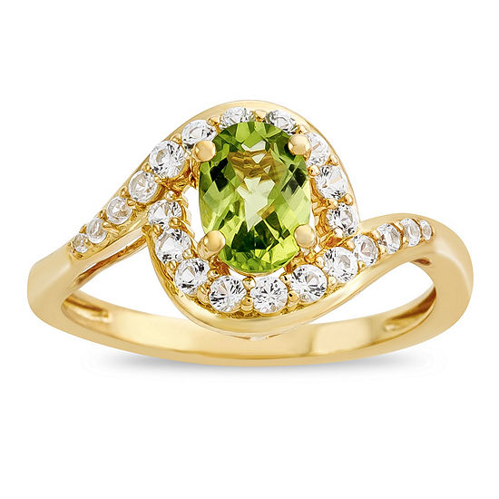 Womens Genuine Green Peridot 14K Gold Over Silver Sterling Silver Cocktail Ring
