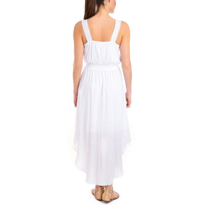 NY Collection High Low Midi Dress with Crochet Straps - Petites