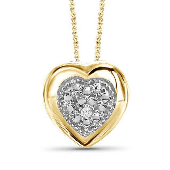 Womens Diamond Accent White Diamond 14K Gold Over Brass Round Pendant Necklace