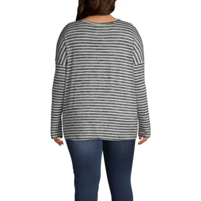 a.n.a. Long Sleeve Stripe Side Tie T-Shirt - Plus