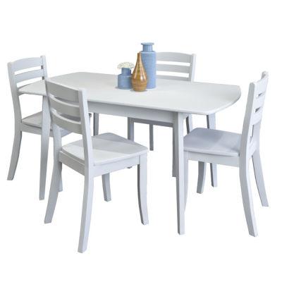 CorLiving Dillon 5pc Extendable Oblong White Wooden Dining Set