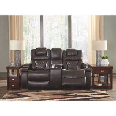 Signature Design By Ashley® Warnerton Power Reclining Loveseat With Console