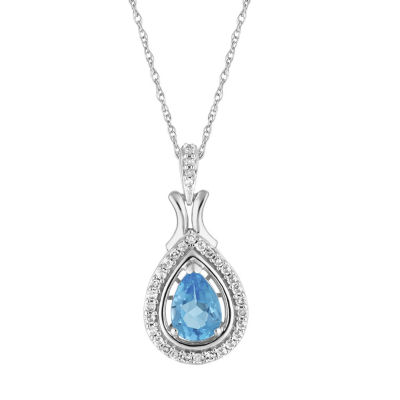 Womens 1/7 CT. T.W. Genuine Blue Topaz 10K White Gold Pendant Necklace