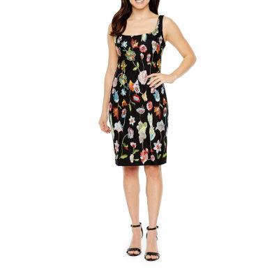 Darian Sleeveless Embroidered Sheath Dress