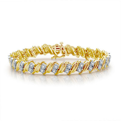 1 CT. T.W. Genuine White Diamond 14K Gold Over Silver Tennis Bracelet