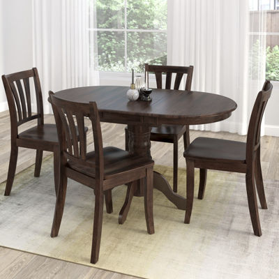 CorLiving Dillon 5pc Extendable Oval Cappuccino Stained Solid Wood Dining Set