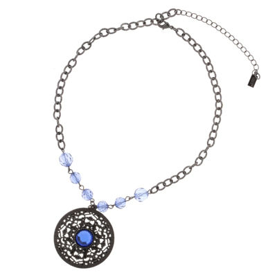 1928 Vintage Inspirations Womens Blue Round Pendant Necklace