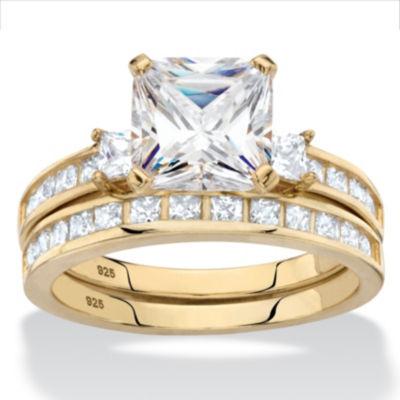 Diamonart Womens 4 1/4 CT. T.W. White Cubic Zirconia 14K Gold Over Silver Square Bridal Set