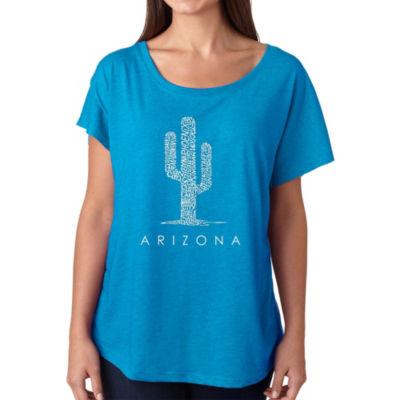 Los Angeles Pop Art Women's Loose Fit Dolman Cut Word Art Shirt - Arizona Cities
