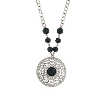 1928 Vintage Inspirations Womens Black Round Pendant Necklace