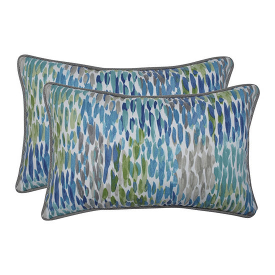 Pillow Perfect Make It Rain Cerulean Set Of 2 Rectangular Outdoor Throw Pillows