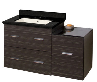 37.75-in. W Wall Mount Dawn Grey Vanity Set For 3H8-in. Drilling Black Galaxy Top Biscuit UM Sink