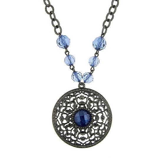 1928 Vintage Inspirations Blue 16 Inch Link Round Pendant Necklace