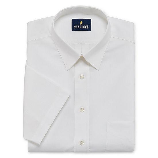 Stafford Mens Short Sleeve Wrinkle Free Stain Resistant Stretch Super Shirt Dress Shirt