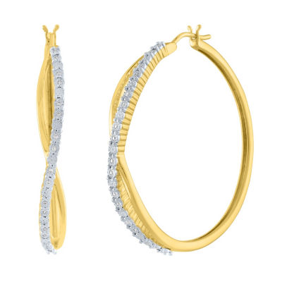 1/10 CT. T.W. Genuine White Diamond 14K Gold Over Silver 36mm Hoop Earrings