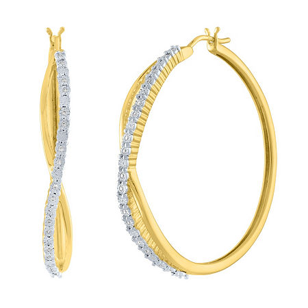 1/10 CT. T.W. Genuine White Diamond 14K Gold Over Silver 36mm Hoop Earrings, One Size , Nocolor