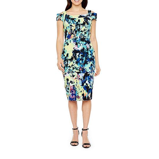 Darian Short Sleeve Abstract Sheath Dress
