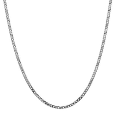 14K White Gold 16 Inch Solid Curb Chain Necklace