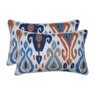 Pillow Perfect Paso Azure Set of 2 Rectangular Outdoor Throw Pillows