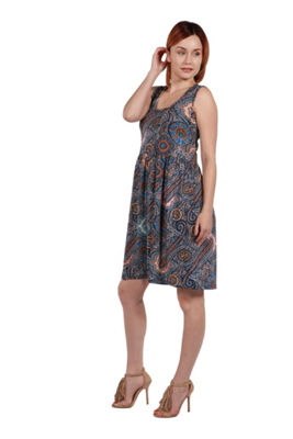24Seven Comfort Apparel Nicole Green Floral Dress- Plus