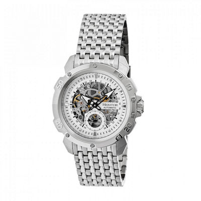 Heritor Automatic Carter Mens Skeleton Dial Bracelet Watch-Silver Tone Watch