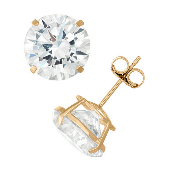 14K Gold Stud Earrings featuring Swarovski Zirconia