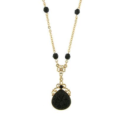 1928 Vintage Inspirations Womens Black Brass Flower Pendant Necklace