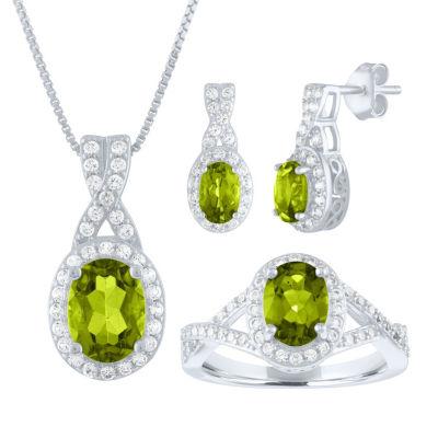 Womens 3-pc. Green Peridot Sterling Silver Jewelry Set