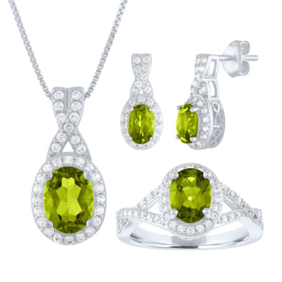 Womens Genuine Green Peridot Sterling Silver 3-pc. Jewelry Set