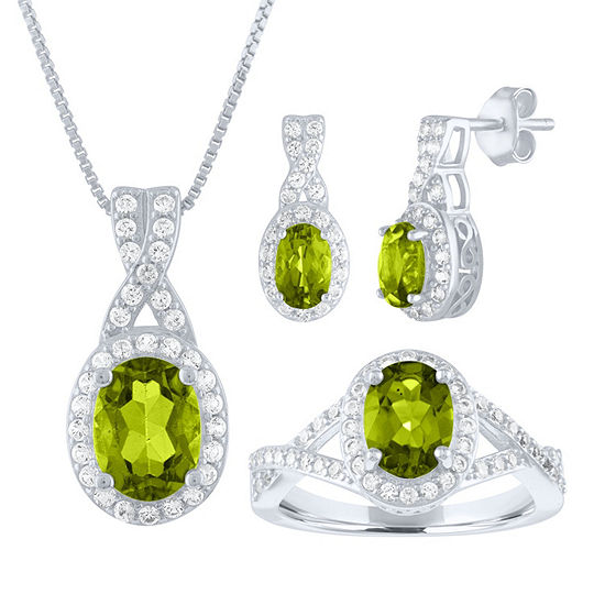 Genuine Green Peridot Sterling Silver 3-pc. Jewelry Set
