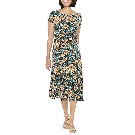 Perceptions Short Sleeve Floral Sheath Dress