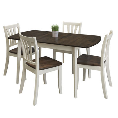 CorLiving Dillon 5pc Extendable Oblong Dark Brown and Cream Solid Wood Dining Set