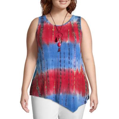Unity World Wear Sleeveless Asymetrical Hem Tank with Necklace - Plus