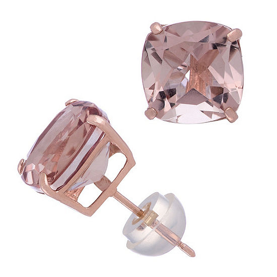 Simulated Pink Morganite 14K Rose Gold 8.1mm Square Stud Earrings